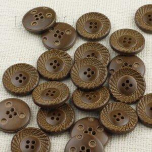 Пуговица пластик ∅ 2,8 см, коричневая веер