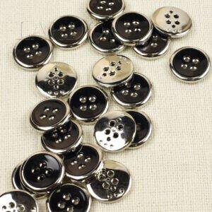 Пуговица пластик чёрная хром ∅ 3,0 см