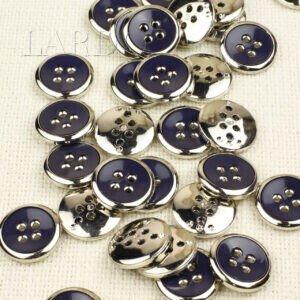Пуговица пластик ∅ 2,2 см тёмно-синяя, серебристая