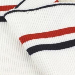 Подвяз трикотажный белый в синюю и красную полоску