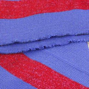 Подвяз трикотажный синего цвета красной полосой с люресом