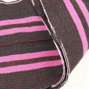 Подвяз трикотажный чёрный меланж в розовую полоску