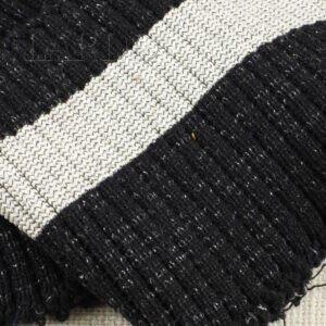 Подвяз трикотажный чёрный с люрексом с молочной полосой