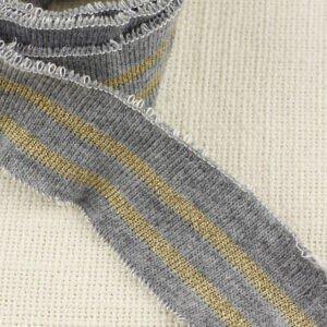 Подвяз трикотажный серый с полосками из люкреса шир. 4,5 см