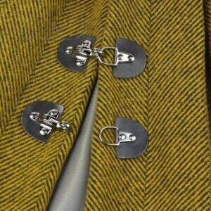 096 Твид шерстяной пальтовый горчичный в ёлочку