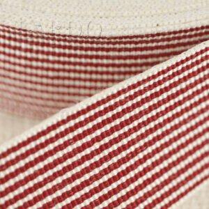 Репсовая лента в полоску молочно-красная шир. 3,0 см