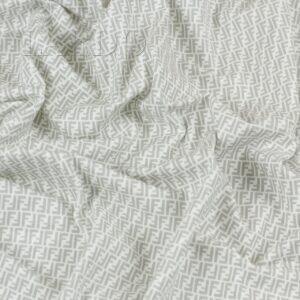 Трикотаж хлопковый кулирная гладь с бежево-серым F