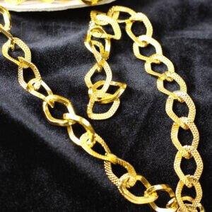 Цепь декоративная золотистая с насечками звено 10 х 15 мм