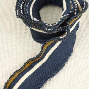Подвяз трикотажный серо-голубой с бежевой и жёлтой полосой 4 см × 90 см