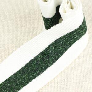 Подвяз трикотажный белый с зелёной полоской люрекс 12 см × 80 см