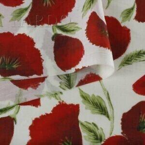 102 Шёлк плательный маки - кружево красное