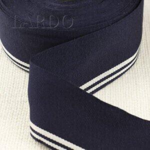 Репсовая лента тёмно-синяя в полоску белую шир. 4,5 см