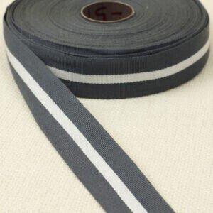 Репсовая лента серая с белой полоской шир. 3,0 см