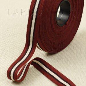 Репсовая лента коричневая с бело-чёрной полоской шир. 1,7 см