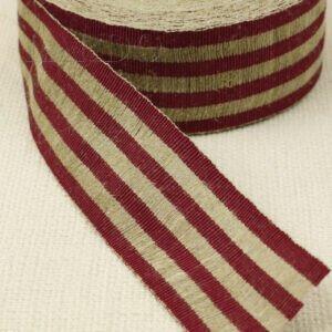Репсовая лента х/б бордово-серая шир. 4,2 см