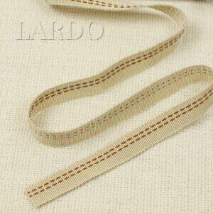Репсовая лента бежевая с двойной строчкой шир. 1,4 см