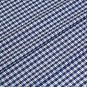 Хлопок стретч сорочечный клетка виши сине-бирюзовая