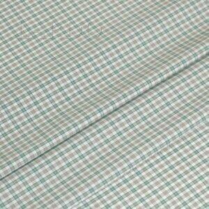 Хлопок стретч сорочечный серо-зелёная клетка