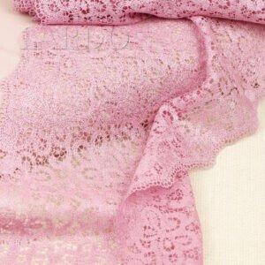Кружево розового цвета, шир.23 см