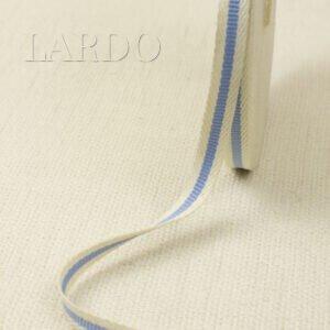 Киперная лента молочная с голубой полоской ширина 1,1 см