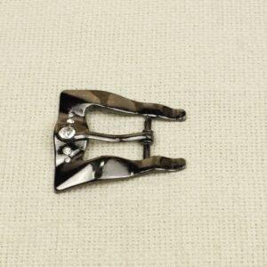 Пряжка металл цвета тёмного никеля со стразами 5,0 см x 4,5 см