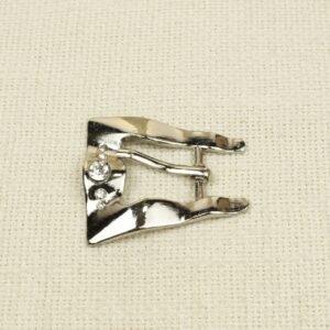 Пряжка металл цвета никеля со стразами 5,0 см x 4,5 см