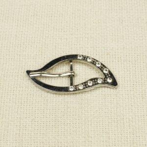 Пряжка металл цвета никеля со стразами 3,0 см x 6,5 см