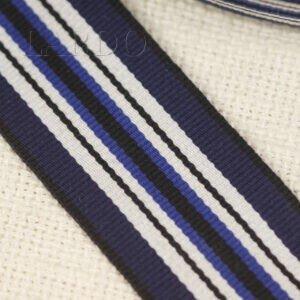 Репсовая лента тёмно-синяя с двумя белыми просветами шир. 3,6 см