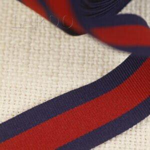 Репсовая лента тёмно-синяя с красной полосой шир. 2,5 см