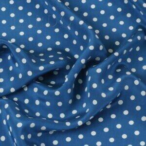 Крепдешин шёлковый синий в бледно-голубой горошек