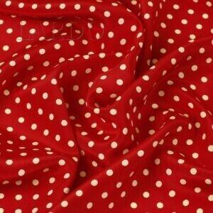 Крепдешин шёлковый красный в бледно-жёлтый горошек Италия Состав: шёлк 100 % Плотность ≈ 70 г/м ² Ширина 136 см