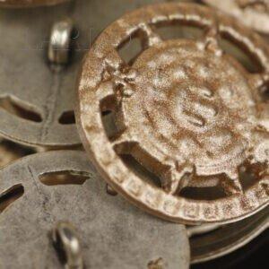 Пуговица на ножке металл под старину ∅ 2,8 см золотистого цвета
