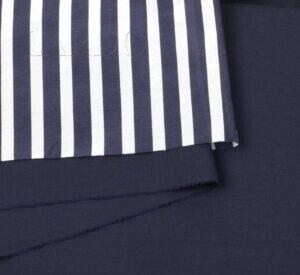 116 Костюмная шерсть тёмно-синяя и батист в сине-белую полоску шёлк с хлопком