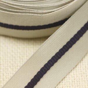 Репсовая лента бежевая с чёрной полосой шир. 2,5 см