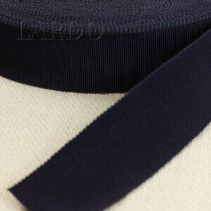 Репсовая лента вискоза хлопок тёмно-синего цвета шир. 3,5 см
