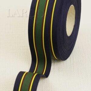 Репсовая лента в полоску тёмно-синяя жёлтая зелёная шир. 3,0 см