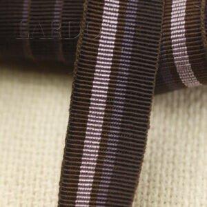 Репсовая лента вискоза хлопок коричневого цвета с розовой полоской шир. 2,0 см
