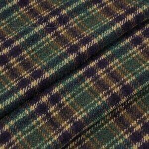 Костюмная ткань шотландка фиолетово-зелёная Италия Состав: шерсть 88 %, п/э 12 % Плотность ≈ 265 г/м ² Ширина 158 см