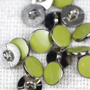 Пуговица на ножке металл никель эмаль цвета лайма ∅ 1,0 см