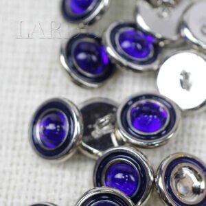 Пуговица на ножке металл эмаль стекло цвета электрик ∅ 1,5 см никель