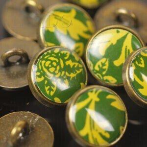 Пуговица на ножке металл зелёный рисунок ∅ 1,2 см бронзового цвета