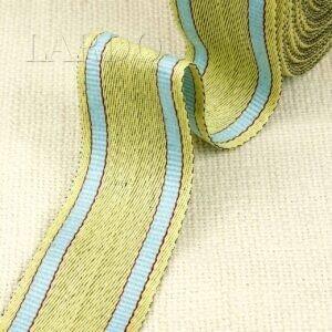 Тесьма лимонного цвета с бирюзовыми полосками по краям шир. 4,0 см хлопок 100%