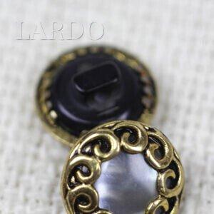 Пуговица на ножке металл пластик с перламутром ∅ 1,5 см чернёное золото