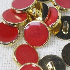 Пуговица на ножке пластик ∅ 1,8 см красного цвета золотистая