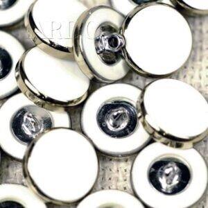 Пуговица на ножке металл пластик белого цвета ∅ 1,5 см никель