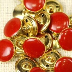 Пуговица на ножке металл пластик красного цвета ∅ 1,5 см золотистая