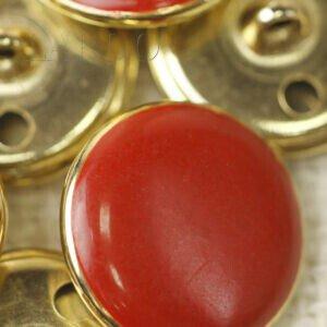 Пуговица на ножке металл пластик красного цвета ∅ 2,0 см золотистая
