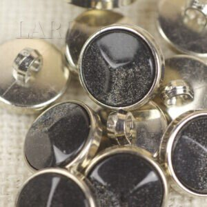 Пуговица на ножке мерседес пластик чёрного цвета ∅ 1,8 см никель