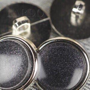 Пуговица на ножке пластик чёрного цвета ∅ 2,1 см никель